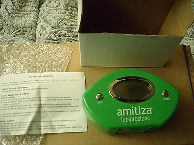 AMITIZA LCD CLOCK WITH ALARM AND LETTER OPENER NEW IN BOX