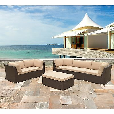 6 PC Outdoor All Weather Wicker Rattan Patio Set Sectional Sofa Furniture
