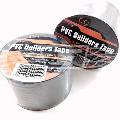 GREY SELF ADHESIVE PVC BUILDERS TAPE 50mm x 33 mtr, CONSTRUCTION BUILDERS FIXING