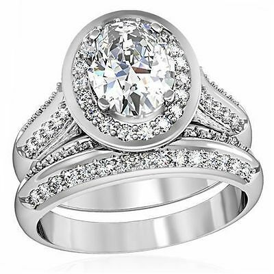 Oval Halo CZ Ring Wedding Set 1.762cttw Stainless Steel Womens Sizes 5 6 7 8 10