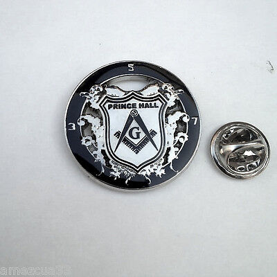 Prince Hall Delux Large Lapel Pin Freemason Silver Finish PHA Masonry