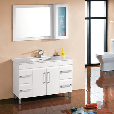 BELLA 1200mm BATHROOM VANITY WITH HANDLE CERAMIC BASIN WHITE GLOSS POLY