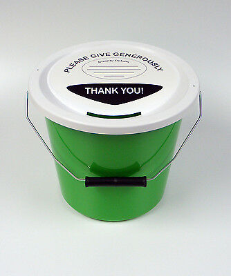 6 Charity Fundraising Money Collection Buckets with Lids, Labels and Ties -Green