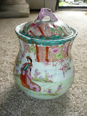 Gorgeous Antique Ginger Jar/jar With Lid/handpainted Asian Scene/pre 1900