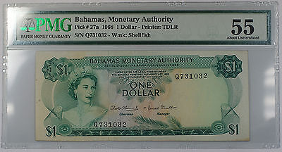 1968 Bahamas Monetary Authority 1 Dollar Note Pick#27a PMG About UNC 55