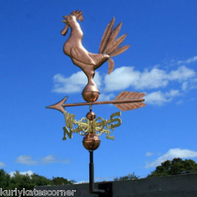 Sweet Rooster Weathervane W/copper Balls & Brass Directional Made In  Usa 151