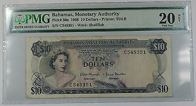 1968 Bahamas Monetary Authority 10 Dollars Note Pick# 30a PMG 20 VF Annotation