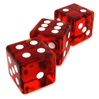 Trick Dice Tops and Bottoms Transparent Red (Missouts) 4,5,6 & 1,2,3 - #31-2401