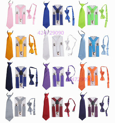 Boys Girls Y-Shape Plain Color Adjustable Elastic Suspenders + Bow Tie + NeckTie