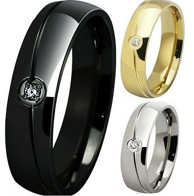 Size 6-15 Stainless Steel Ring Wedding Engagement Classical Cocktail Anniversary