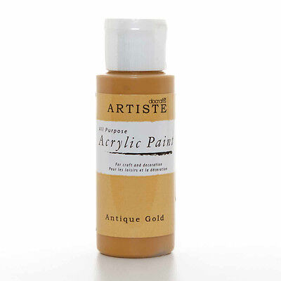 DoCrafts Artiste Antique Gold Acrylic Craft Paint - 59ml