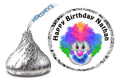 216 CARNIVAL CIRCUS CLOWN BIRTHDAY PARTY FAVORS HERSHEY KISS KISSES LABELS