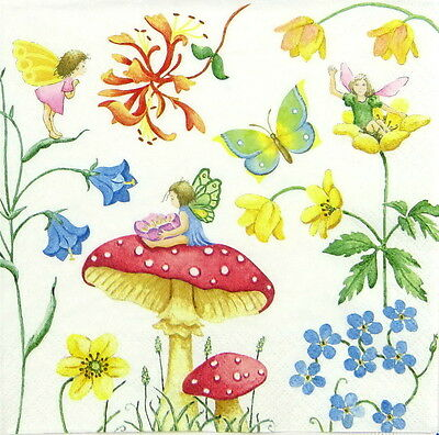 4x Paper Napkins for Decoupage - Playful Fairies in The Garden