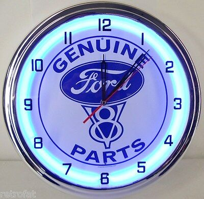 1963 72 Chevy And Gmc Truck Engine Mount And Transmission #2: Ford V8 Parts 15 Neon Clock Emblem Tin