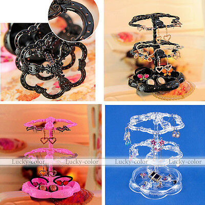 Annulus Flower Necklace Earrings Organizer Holder Turnable Jewelry Display Stand
