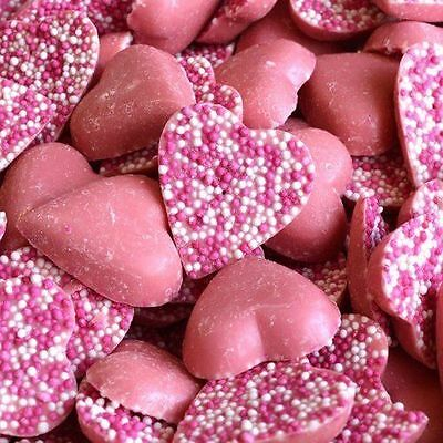 Kingsway Pink Chocolate Strawberry Heart Jazzies Sweets Retro Candy 100g - 3kg