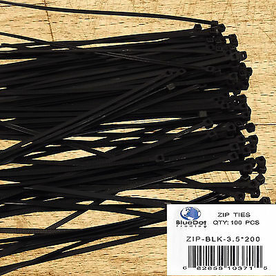 USA FREE SHIP ~ 8 Inch 40 LBS Nylon Quality Cable Zip Wire Ties BLACK 100 Pack