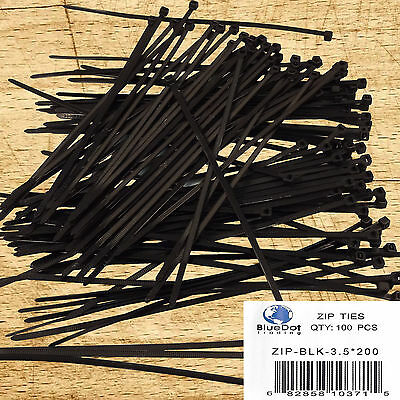 """100 Pack Lot Pcs - 8"""" Inch UV Resistant Nylon Cable Zip BLACK 40 lbs Wire Tie"""