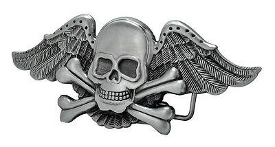 Skull and Crossbones with Wings Belt Buckle Painted Metal Cool Unique New