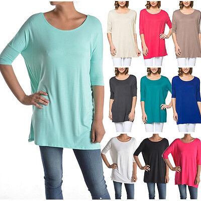 USA Women Boat Neck Long Tunic Top Short Sleeve Piko Style T-Shirt Loose S ~ 3X