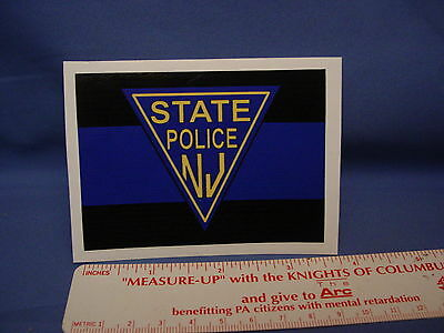 Nj State Police - Decal-Thin Blue Line-  Full Color Outside Decal Pba-Fop