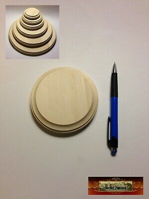 "M00067 MOREZMORE 1 Unfinished 4"" Round Wood Base Wooden Plaque Sculpt Stand T20A"