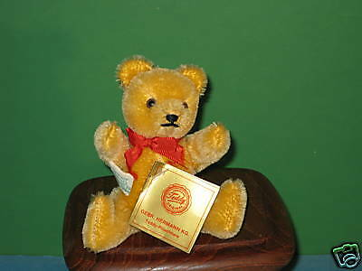 """GEBR Hermann 4"""" Honey Colored Mohair Bear with Tag"""