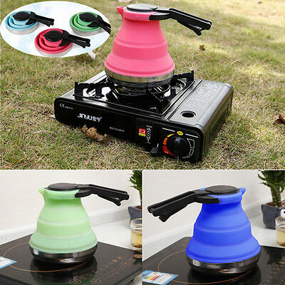1.5L Kettle Camping Collapsible Folding Silicone Water Pot Gas Stove Hob Using
