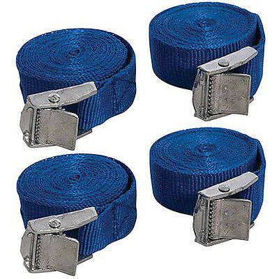 Silverline Buckled Straps 4 Pack 2.5m x 25mm Cam Buckle Tie Down Lashing 449682