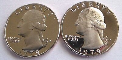 1979-S Type 1&2 Gem Proof Washington Quarters. Filled S & Clear S. Very Nice!!
