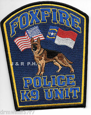 "Foxfire  K-9, NC  (4.5"" x 5.5"" size) shoulder police patch (fire)"