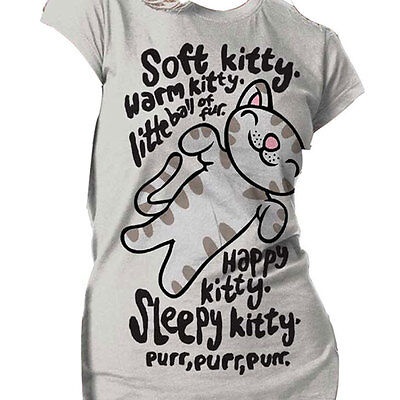 Big Bang Theory OFFICIAL Sheldon Cooper Soft Kitty Warm Kitty Girls Fit T  16E