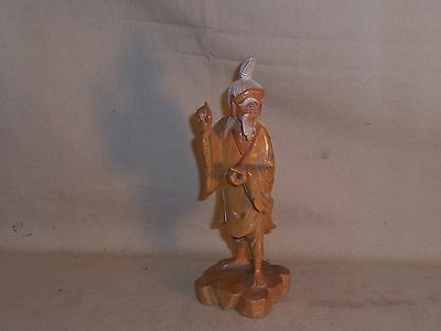 Antique Asian Wood Carved Fisherman Figure Statue Great display painted face