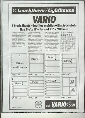Vario / SafeT Stock Sheets--FIVE (5) pockets/page, double sided BLACK