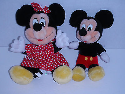 "VINTAGE DISNEYLAND WDW MICKEY MOUSE &  MINNIE MOUSE 12"" PLUSH 2 TOY DOLL"