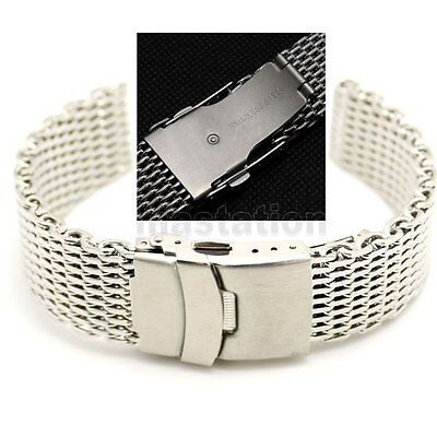Silver 18/20/22/24mm Stainless Steel Mesh Wrist Watch Band Strap Clasp Bracelet