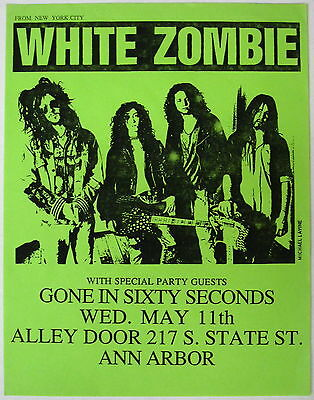 WHITE ZOMBIE Alley Door MICHIGAN 1988 CONCERT Flyer METAL Rob YSEULT Minty!
