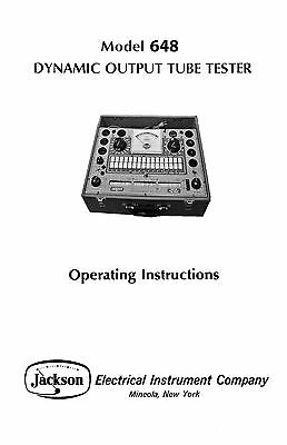 Jackson 648 Tube Tester Manual with Tube Test Data