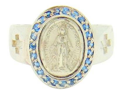 MRT Miraculous Mary Medal Ring Sterling Silver w23 Blue Crystals Sizes 5-8 Boxed