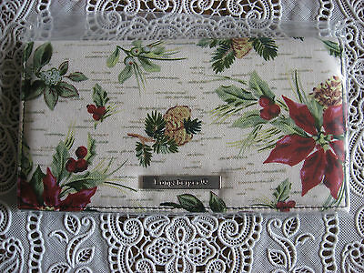 NEW Longaberger Holiday Botanical Fabric Duplicate Checkbook Cover FREE SHIPPING