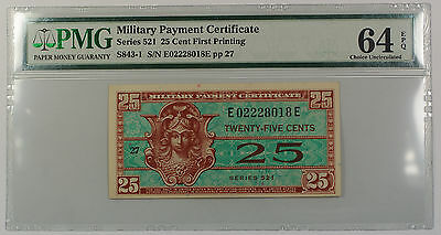 Serie 521 Military Payment Certificate 25 Cent Note PMG 64 Choice UNC EPQ