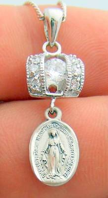 """MRT Miraculous Mary Medal Pendant Sterling Silver Swarovski Crystals 18"""" Chain"""