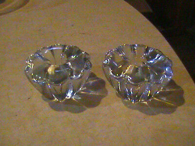 """2 Orrefors Crystal Stella Taper Candle Holders Signed 2 5/8""""Across"""