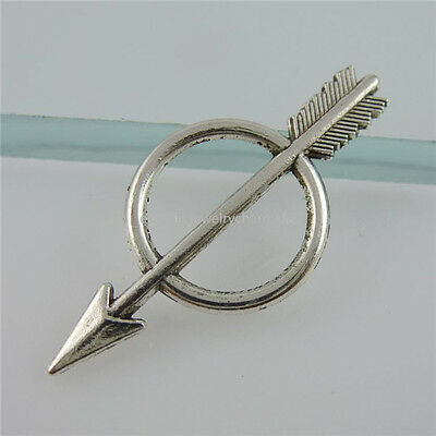 11910 60PCS Alloy Vintage Silver Tone Round Ring Arrow Connector Pendant Charms