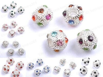 10pcs Czech Crystal Rhinestone Silver Round Charms Loose Spacer Beads 10MM