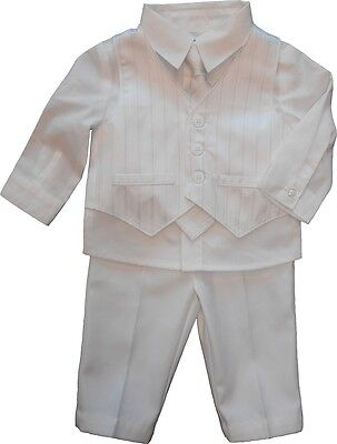 Boys White 4 Piece Suit  Christening Wedding Formal Occassion Age 3-6 Months