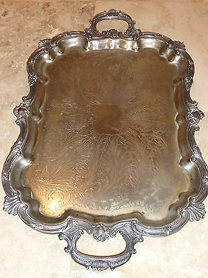 """Goldfeder Silver Company Massive Silver Plate Footed Tray - Huge! 29"""" L X 18"""" W"""