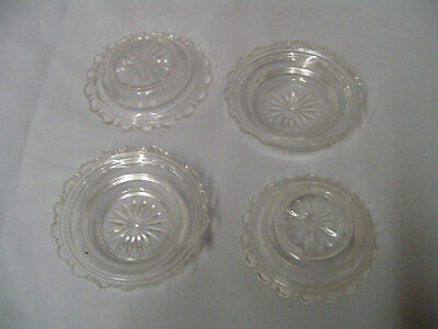 """Pattern Glass 4 Small Clear Bowls Fine Starburst .75"""" Tall 3.5"""" Across Vintage"""