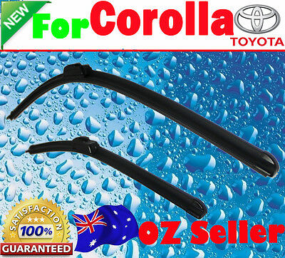 Pair Frameless Windscreen Wiper Blades For TOYOTA COROLLA ZRE152R 2007 - 2016