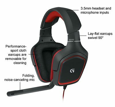 Logitech G230 Stereo Gaming Headset Headphone with Noise Cancelling Microphone